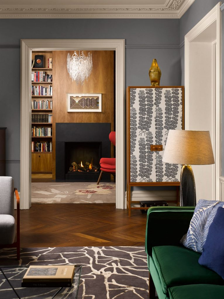 The interiors are cathcy, bright and chic and feature jewel tones and prints