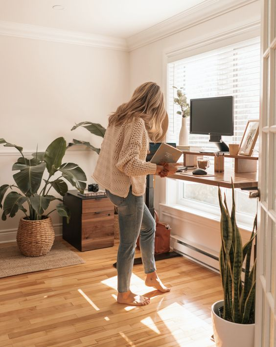 a standing desk is a nice solution and you may adjust it and use as a usual one, too