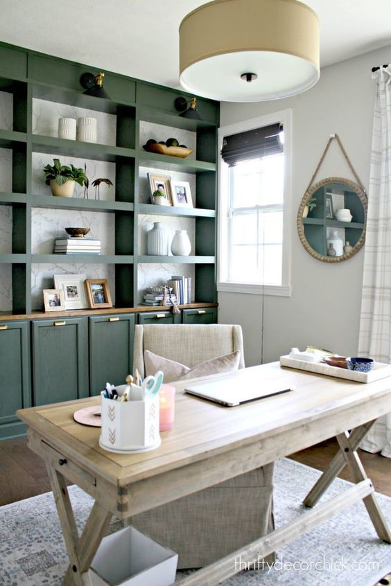 a green storage unit with open and closed compartments is a very stylish and chic idea to rock