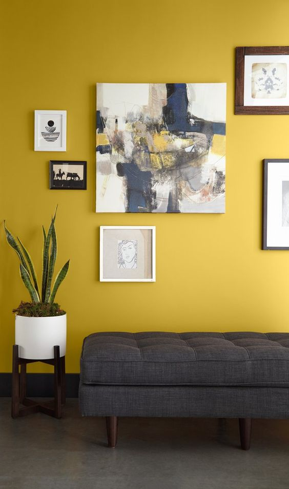 a bold entryway with a mustard accent wall, a grey upholstered bench, a bright gallery wall, potted plants