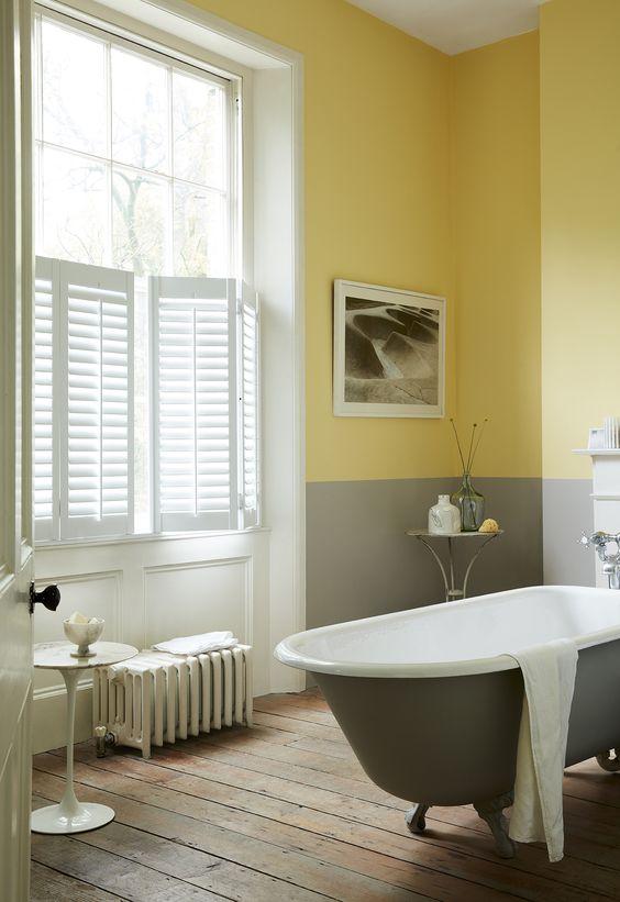 bathroom with colorblock walls