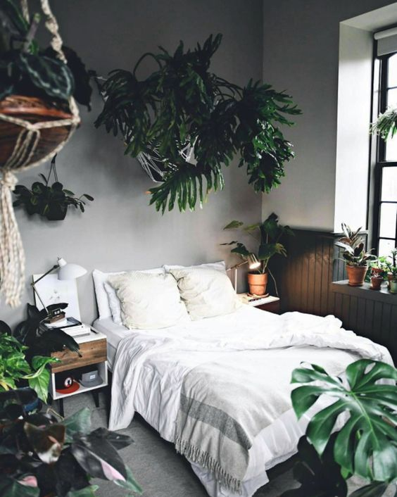 a boho bedroom with statement tropical plants in pots feels very welcoming and very summer-like