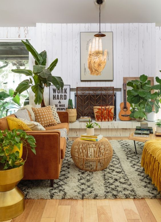 03 a global style living room with boho influence, done in warm tones, potted greenery and cool accessories