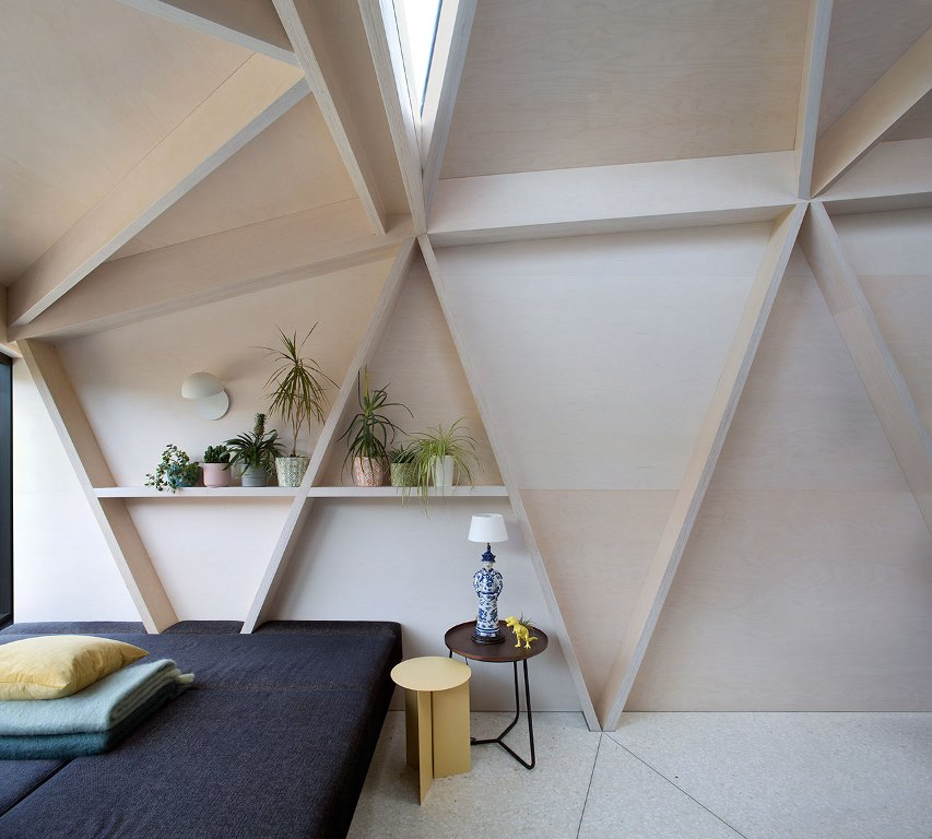 Geometry is another way the designer gave a fresh feel to the rooms