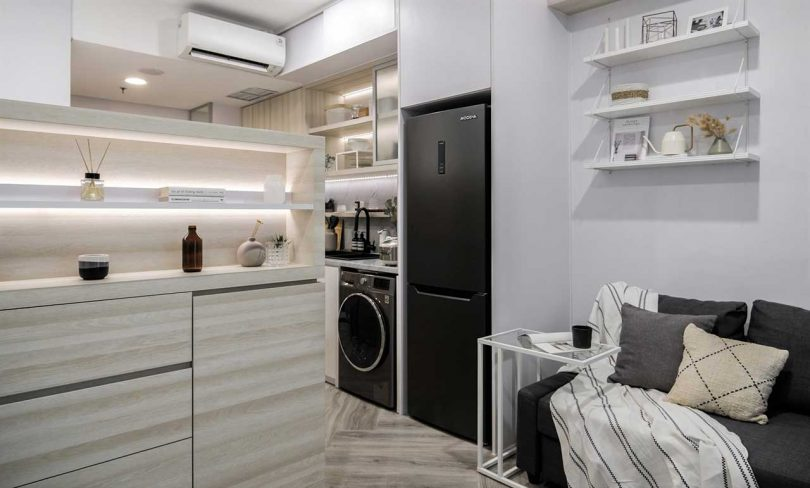 All the appliances are built-in and furniture is also built-in where it's possible