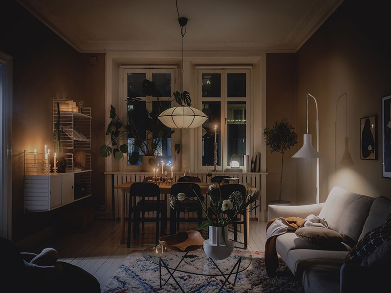 In the evening the apartment turns totally magical and very cozy