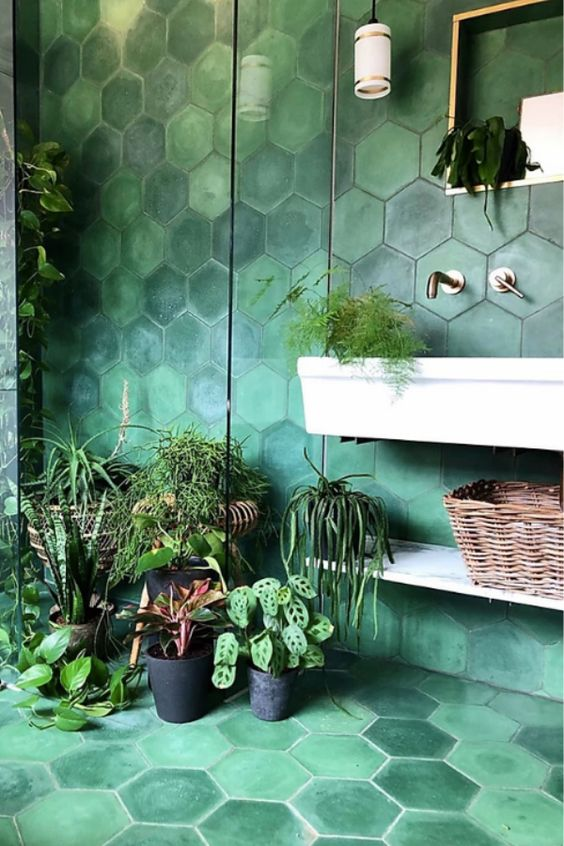 a catchy green hex tile bathroom with lots of potted greenery will be very relaxing and calming