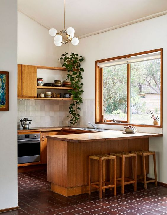 a neutral mid century modern living room with light stained furniture, potted greenery, neutral tiles on the backsplash