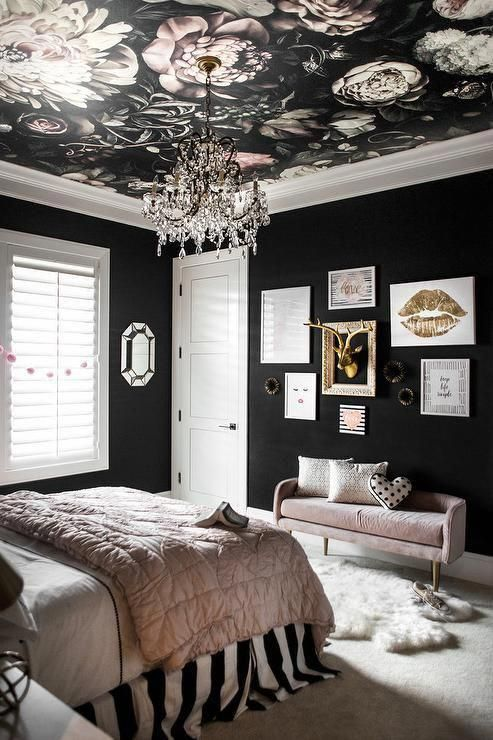 a glam black and blush bedroom with black walls, a moody floral ceiling, a gallery wall with gold and pink bedding