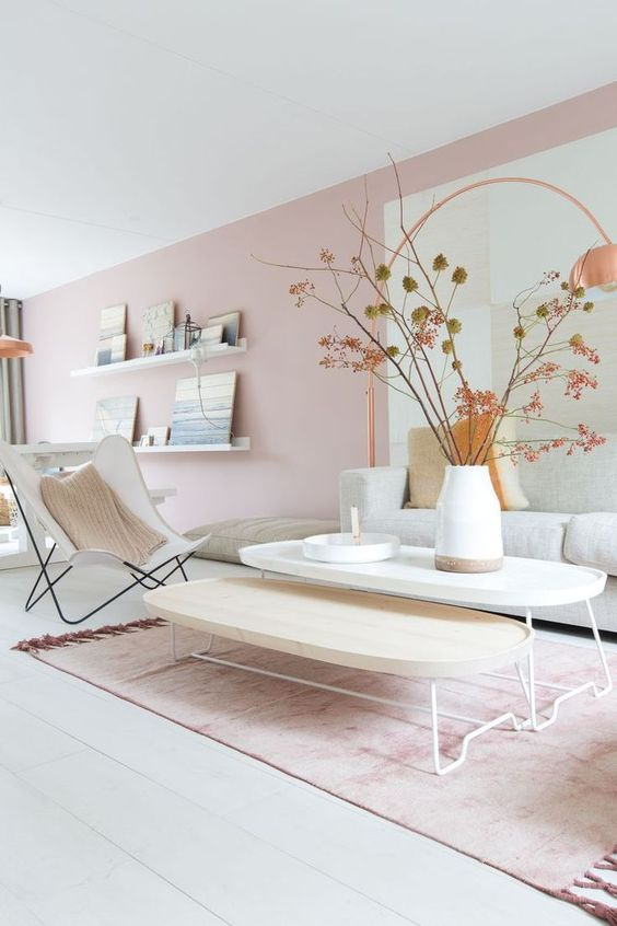 56 a beautiful Scandinavian living room with light pink walls, neutral furniture and branches in a vase plus a pink rug