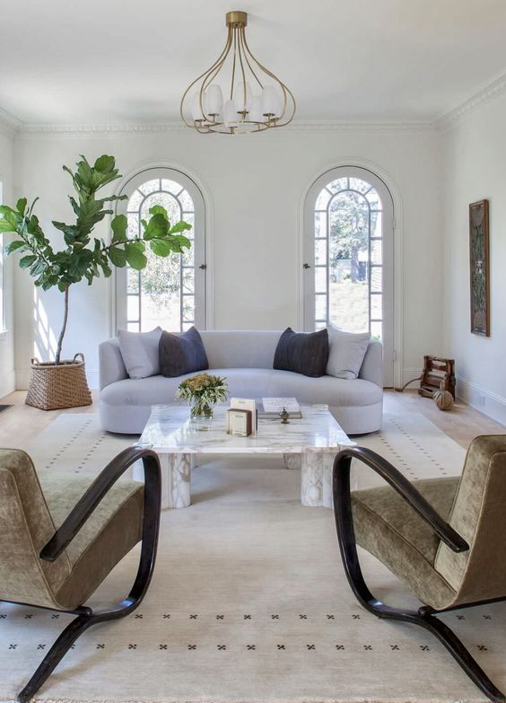 65 an airy and welcoming living room with a curved sofa and unique curved chairs, a statement plant and a modern chandelier