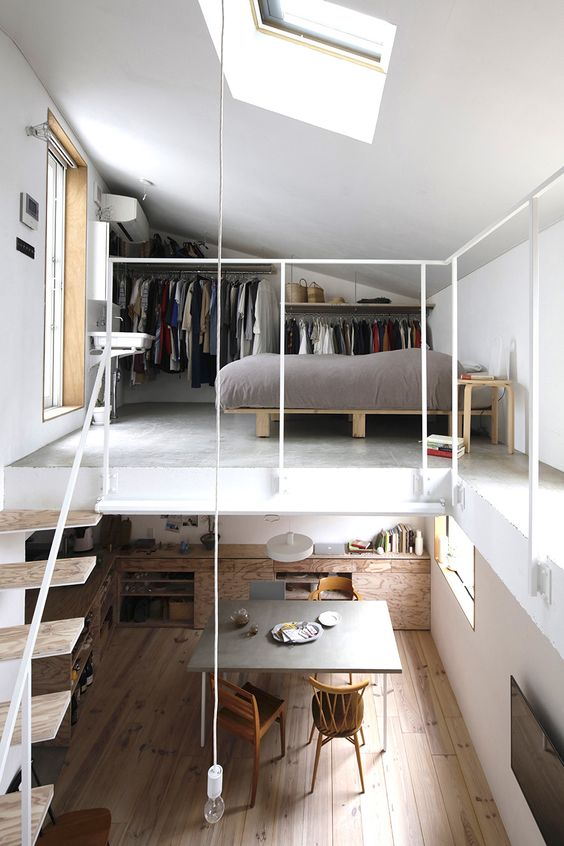 a contemporary apartment with a loft bedroom and a closet space, with a window and a skylight is a very modern solution