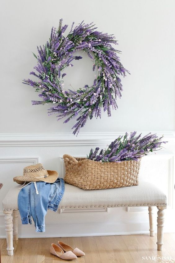a beautiful lavender and greenery wreath will work for both a spring and a summer space and is a timeless idea
