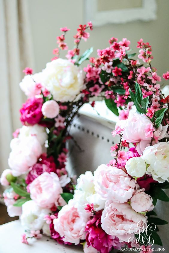 a gorgeous spring cherry blossom and peony wreath with some foliage is a fantastic idea to rock