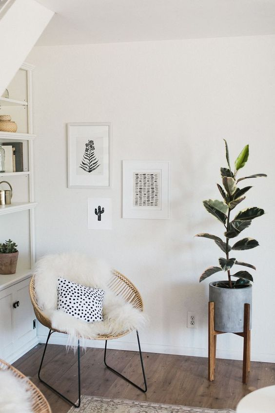 a small modern gallery wall with a free form and black and white botanical art is a lovely idea for a boho nook