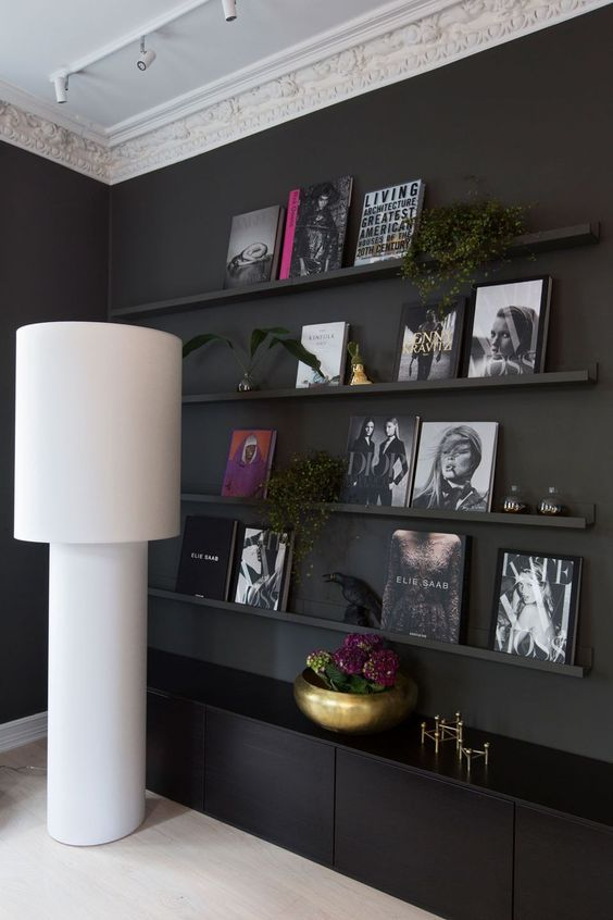 a black wall plus matte black ledges merging with it, cool artworks and books and even some potted plants looks very stylish