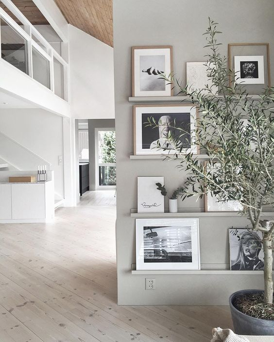 a grey wall with matching ledges, black and white artworks in light colored frames and greenery in vases looks very airy and Scandi