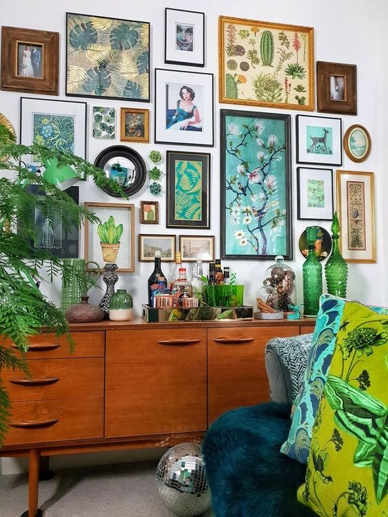 botanical gallery wall is a nice alternative to a botanical wallpaper