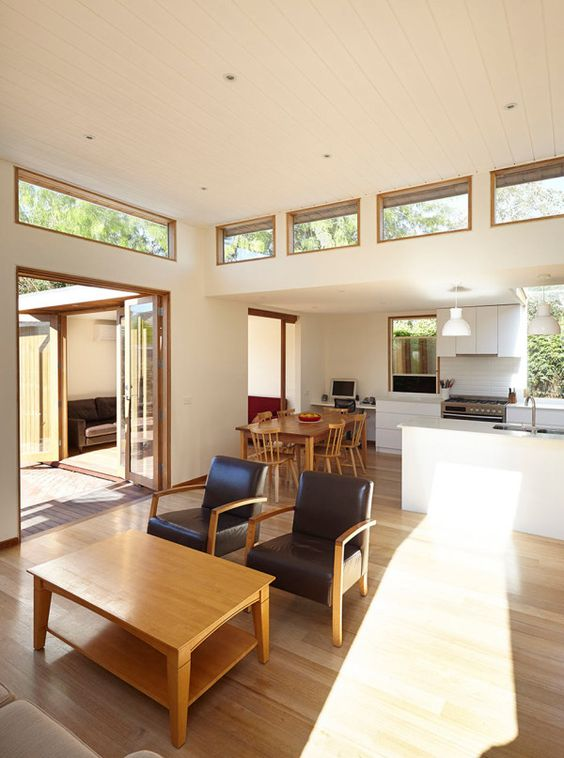 a mid-century modern space with multiple windows and glass doors plus clerestory windows is chic and light-filled