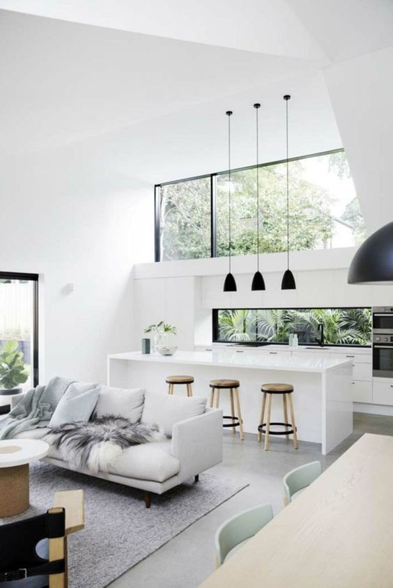 a minimalist tropical space in white and grey, with black touches for drama and with a large clerestory window for more light