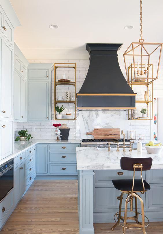 a cute farmhouse blue kitchen design