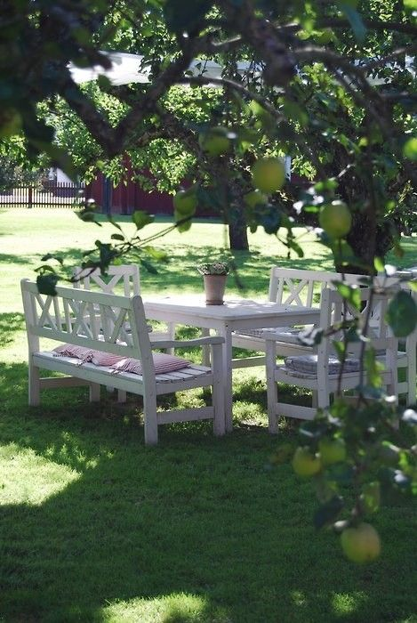 a very simple dining area with white garden furniture under the trees is a lovely space to be