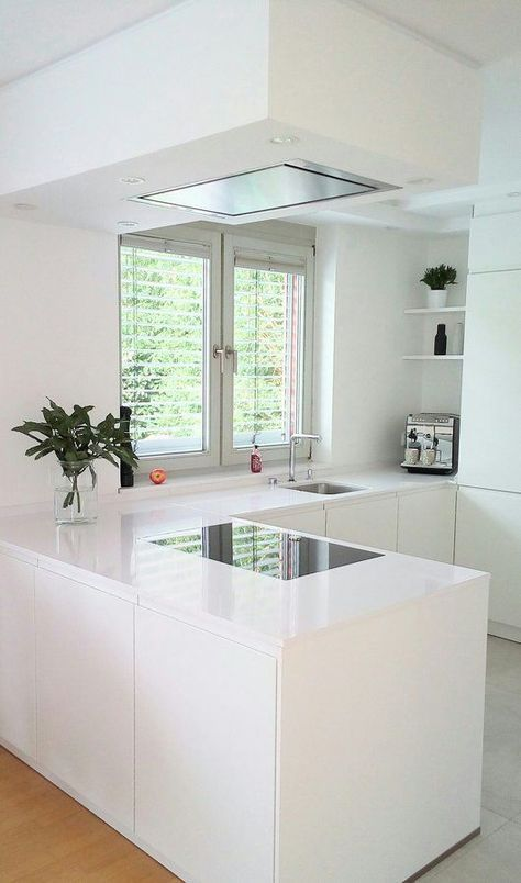 a white minimalist L shaped kitchen with a matching hood and a window and a view is very airy and welcoming