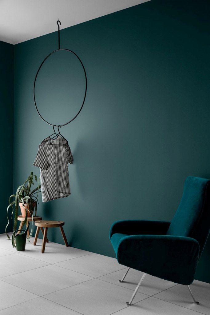 a minimalist room with teal walls, a matching teal chair, a hanger for clothes and potted greenery and succulents