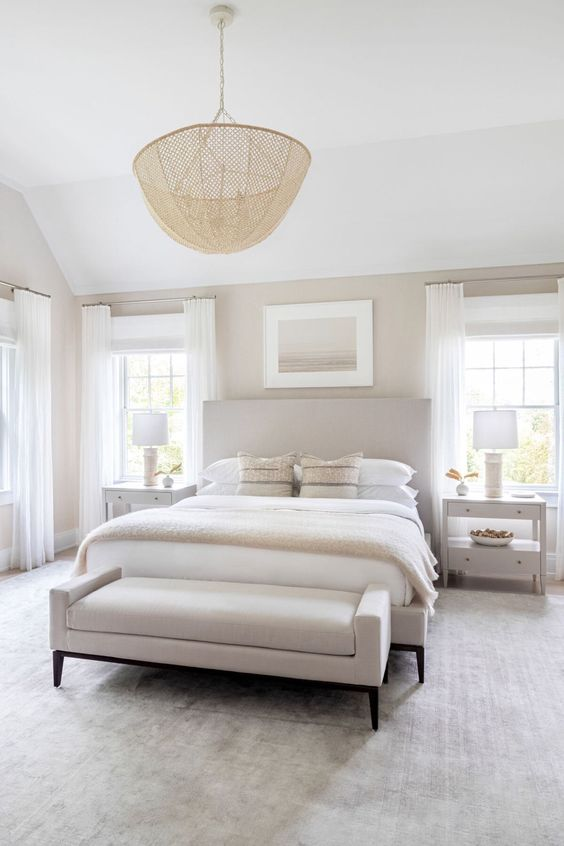 06 a serene modern neutral bedroom with elegant modern furniture, a catchy pendant lamp and a cool artwork is welcoming
