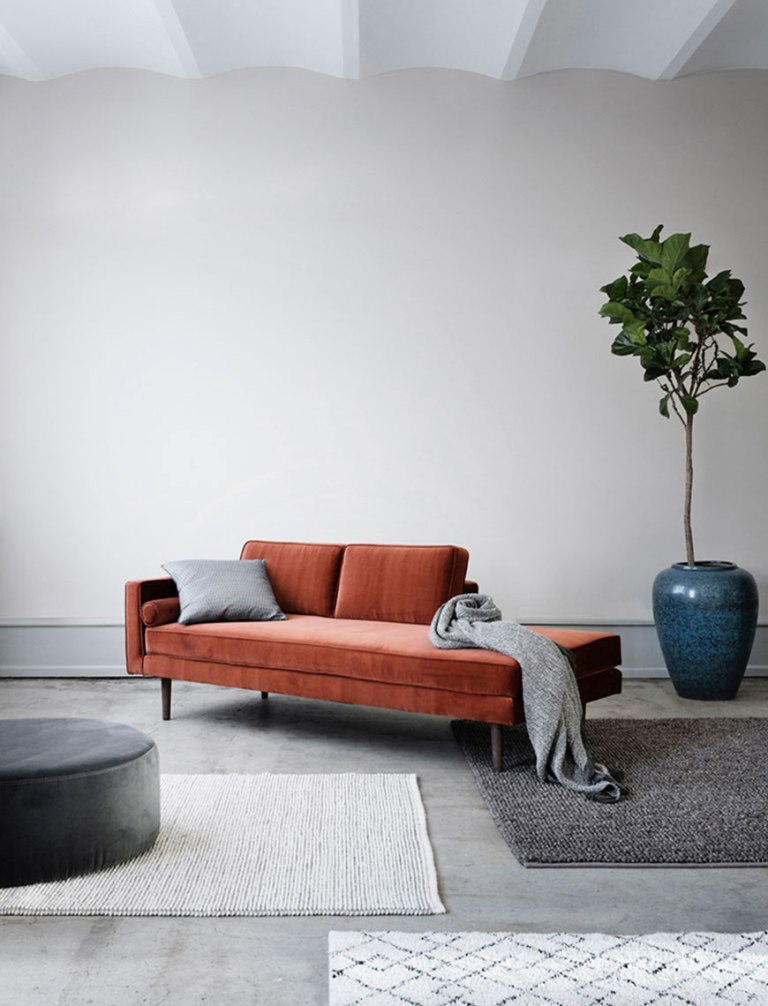 a minimalist living room done in monochromatic greys, a terracotta couch, a potted tree in a blue planter that adds color, too