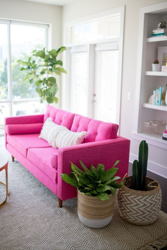 a neutral space spruced up with a hot pink sofa, a boho rug and pillows, potted plants in baskets is a cool room