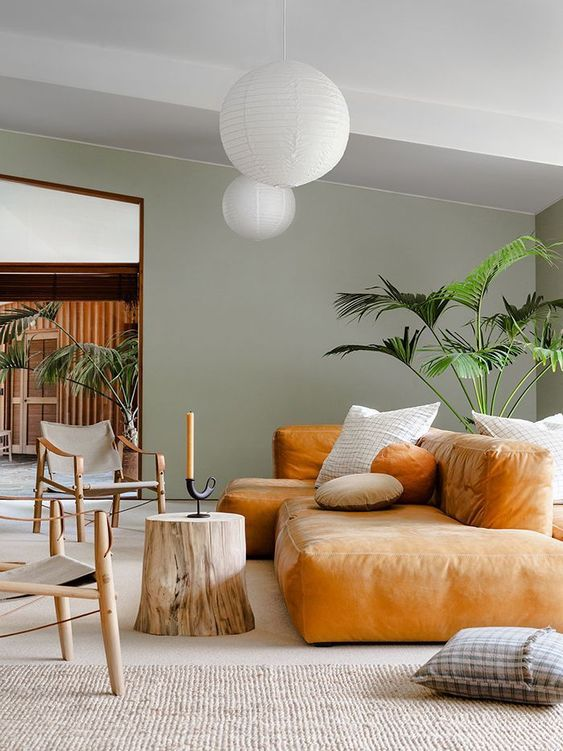 a pretty living room with green walls, a low amber sofa, a tree sutmp, lovely chairs and potted plants
