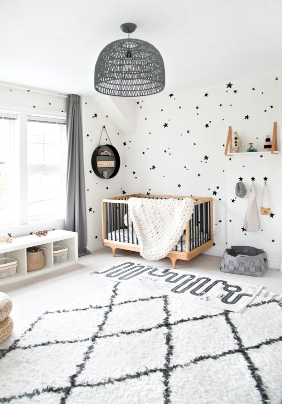 a cute modern girl's nursery