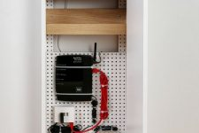 a simple cable organizer box can be attached or placed anywhere and will keep all your eye-sores hidden