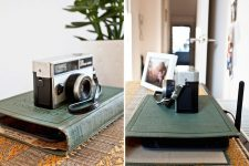 23 a wi-fi router hidden inside a vintage book cover is a nice idea for any space, it's elegant and very chic
