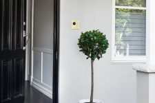 02 a very laconic and simple modern porch with a black door, black and white patterned tiles, some potted greenery is a chic idea to repeat