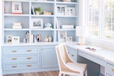 a light-blue home office design