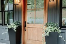 13 a modern porch with a stained door, black tall planters with greenery and layered rugs looks elegant and laconic and isn't difficult to recreate