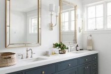 15 an elegant graphite grey farmhouse bathroom with a double sink and mirror, with a basket for storage
