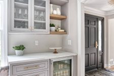 27 a light grey home bar done with kitchen cabinets, open shelves and a wine cooler is a lovely space for a farmhouse home