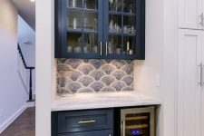32 a tiny home bar done with a couple of navy kitchen cabinets and squeezed into a tiny awkward nook is lovely and has all the necessary stuff