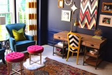 a home office with dark blue walls