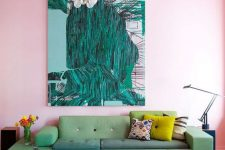 a cute living room with catch colors