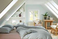 a neutral attic bedroom design