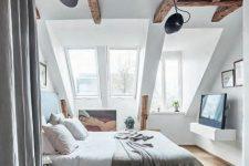 dark beams looks great in a neutral bedroom
