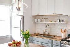 a cozy kitchen with wooden countertops