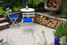 a small outdoor space with an oven