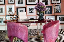 a home office design with pink touches