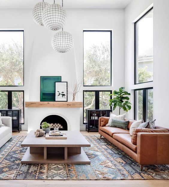 an amber leather sofa is a timeless solution for a mid-century modern space and for many other styles is chic