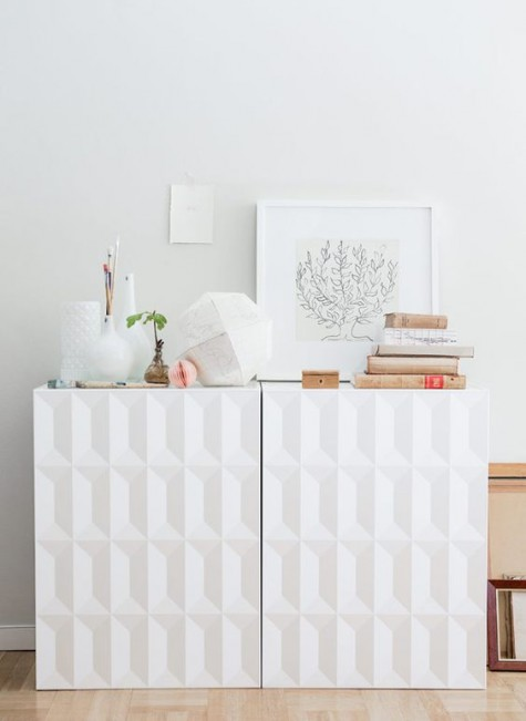 a chic Metod cabinet hack with sculptural doors will fit any contemporary or modern space